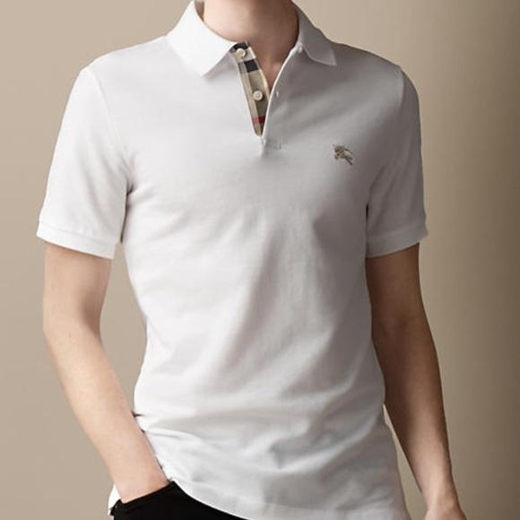 defcdeacd burberry brit white mens check placket polo shirt